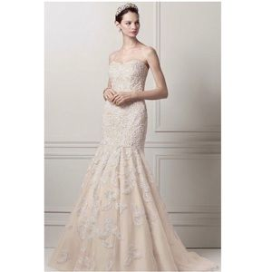 Champagne Beaded Lace Trumpet Wedding Dress